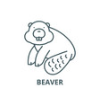 beaver line icon beaver outline sign vector image vector image