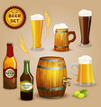Beer icons composition set poster vector image vector image