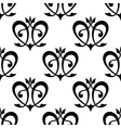 Black floral hearts seamless pattern vector image