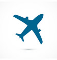 blue flying airplane icon isolated on white vector image vector image