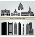 Boston landmarks and monuments vector image vector image