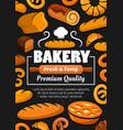 bread baguette pastries baker hat on blackboard vector image vector image