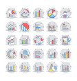 business charts and diagrams colored icons 4 vector image