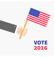 Businessman hand holding american flag President vector image