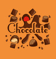 chocolate candy sweet bar drops card vector image vector image