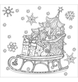 Christmas doodle sketch sledge vector image vector image