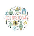 christmas hand drawn color vector image vector image