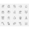 Christmas sketch icon set vector image