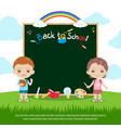 colorful back to school green chalk board vector image vector image