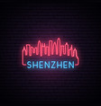 concept neon skyline of shenzhen city bright vector image