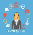 contact us flat set vector image vector image