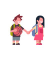 couple girl backpack boy basketball hold hands vector image vector image