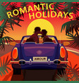 couple kissing in cabriolet car on beach at sunset vector image vector image