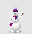 cute cartoon snowman in purple knitted hat on vector image vector image