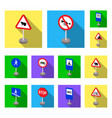 different types of road signs flat icons in set vector image