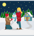 family makes a snowman before christmas vector image vector image