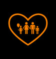 family sign in heart shape orange vector image vector image