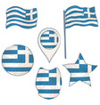 flag of the greece performed in defferent shapes vector image vector image