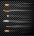 flying fast bullets set realistic metal firearm vector image