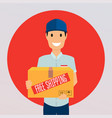 free shipping business concept delivery man with vector image