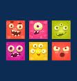 funny monsters set colorful mutant emojis cute vector image