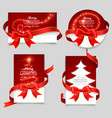 Gift cards with red bows vector image vector image