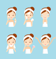 Girl cleaning and care her face set vector image vector image