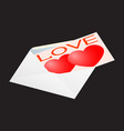 greeting card for valentine s day in an envelope vector image vector image