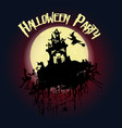 halloween party castle a witch on a broomstick vector image vector image