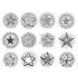 hand drawn vintage doodle stars set vector image vector image