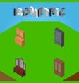 isometric design set of sideboard drawer vector image