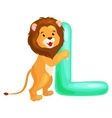 Letter L with lion animal for kids abc education