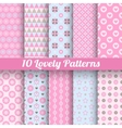 Lovely seamless patterns tiling with swatch vector image vector image