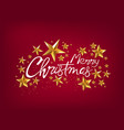 merry christmas greeting card with gold stars vector image vector image