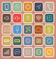 Mobile phone line flat icons on orange background vector image vector image