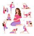 pretty pregnant woman doing yoga having healthy vector image