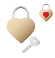 Realistic looking gold lock shaped as heart vector image