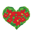 Red Poinsettia Flowers in A Heart Shape vector image vector image