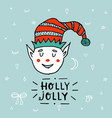 santa claus kid cartoon elf helper working vector image