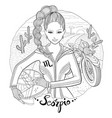 Scorpio zodiac sign young woman motorcyclist vector image