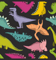 seamless pattern wit dinosaur cute baby vector image vector image