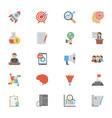 seo and marketing flat icons pack vector image vector image