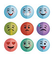 set faces emoticons characters icons vector image vector image
