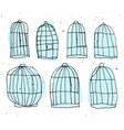 set of birdcages hand draw vector image