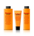 set of realistic cosmetic orange bottle with black vector image vector image