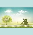 spring nature meadow landscape with a bicycle and vector image vector image