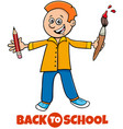 student boy back to school cartoon vector image vector image