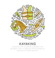 summer kayaking icon set hand draw style vector image vector image