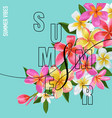 summertime floral poster with plumeria flowers vector image vector image