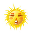 sun smile or summer cartoon emoticon and emoji vector image vector image